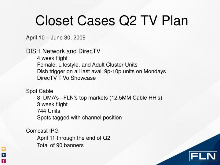 Closet Cases Q2 TV Plan