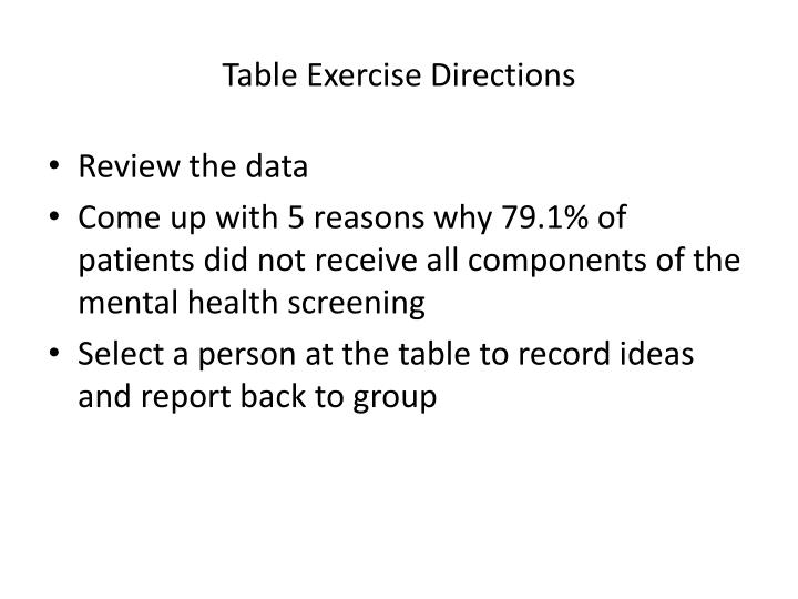 Table Exercise Directions