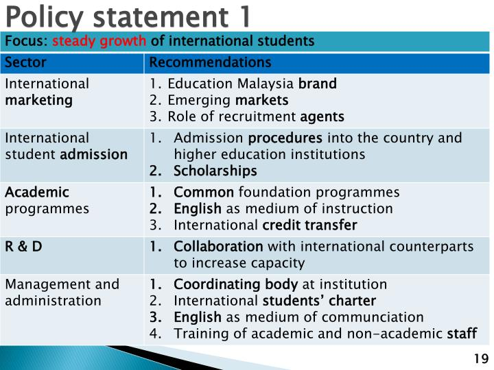 Policy statement 1