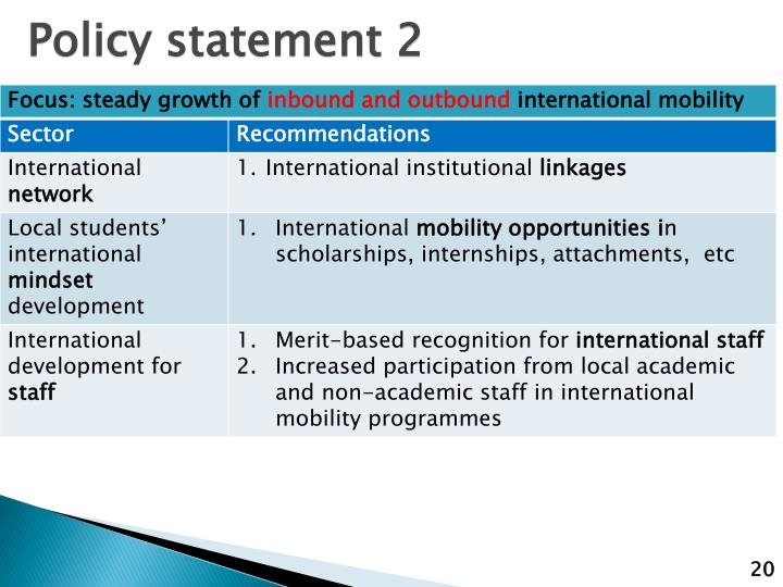 Policy statement 2
