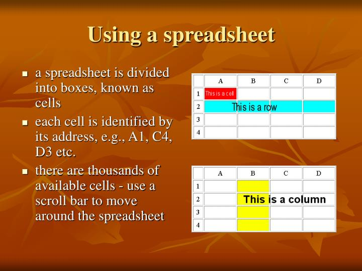Using a spreadsheet