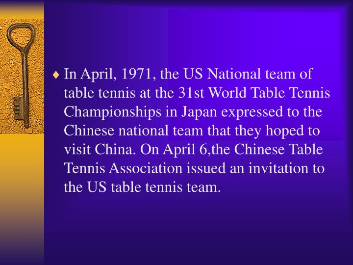 In April, 1971, the US National team of table tennis at the 31st World Table Tennis Championships in Japan expressed to the Chinese national team that they hoped to visit China. On April 6,the Chinese Table Tennis Association issued an invitation to the US table tennis team.