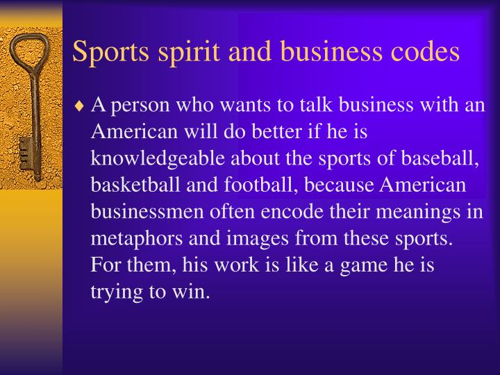 Sports spirit and business codes