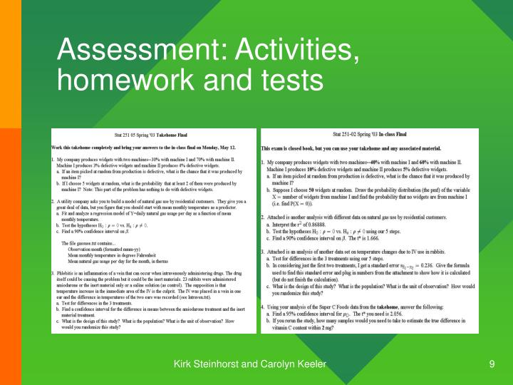 Assessment: Activities, homework and tests