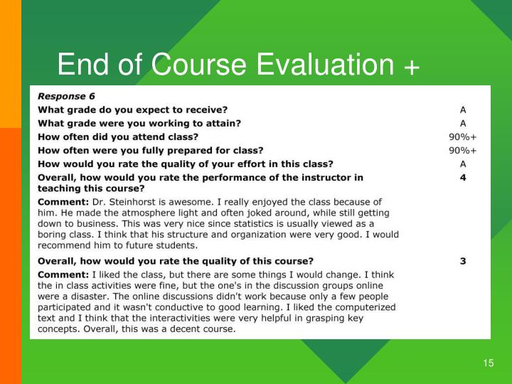 End of Course Evaluation +