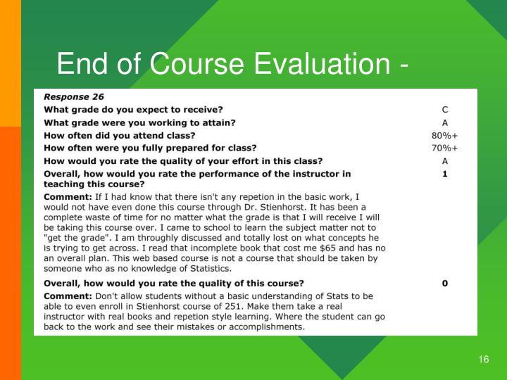 End of Course Evaluation -
