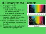 iii photosynthetic pigments
