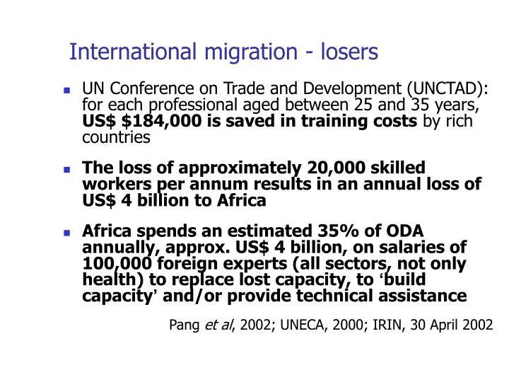 International migration - losers
