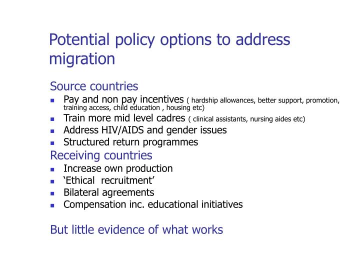 Potential policy options to address migration