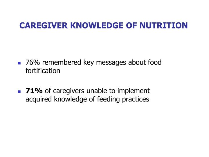 CAREGIVER KNOWLEDGE OF NUTRITION