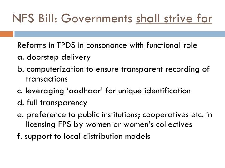 NFS Bill: Governments