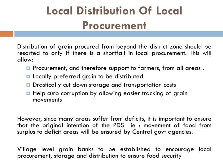Local Distribution Of Local Procurement