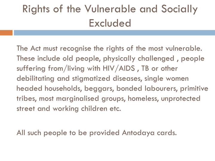 Rights of the Vulnerable and Socially Excluded