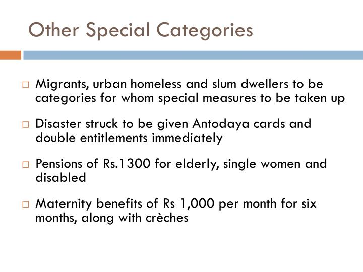 Other Special Categories