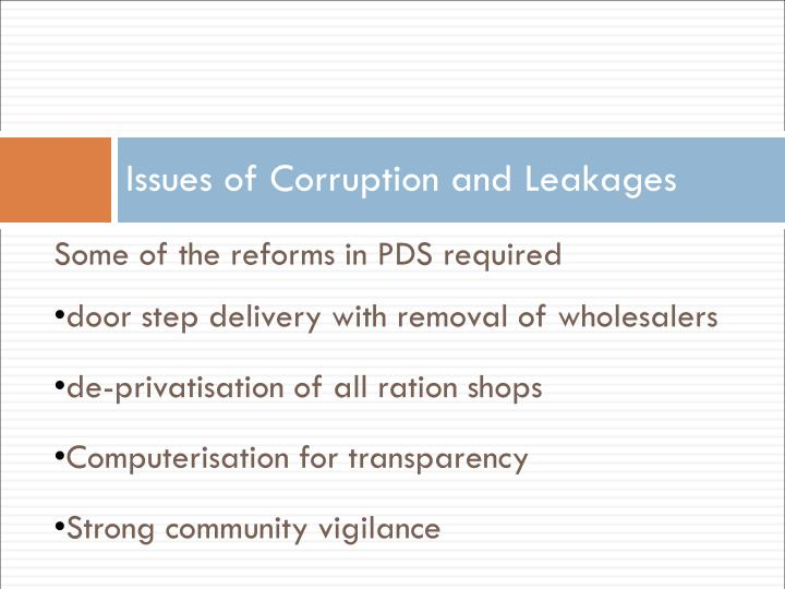 Issues of Corruption and Leakages