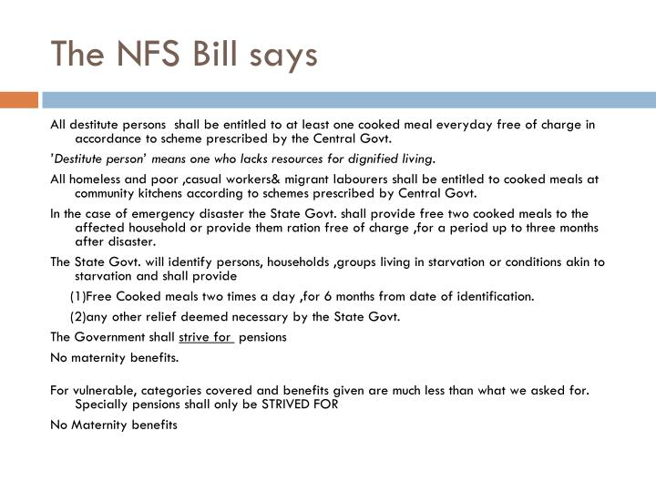 The NFS Bill says