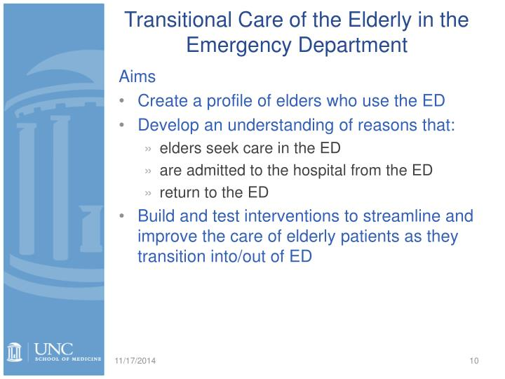 Transitional Care of the Elderly in the Emergency Department