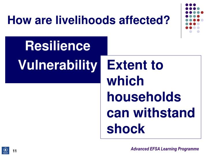 How are livelihoods affected?