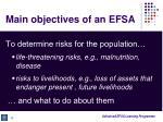 main objectives of an efsa