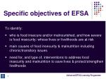 specific objectives of efsa