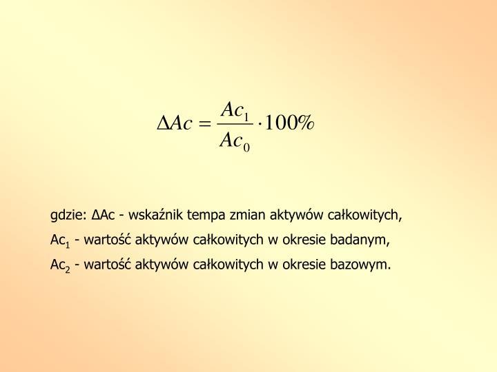 gdzie: ΔAc - wskaźnik tempa zmian aktywów całkowitych,