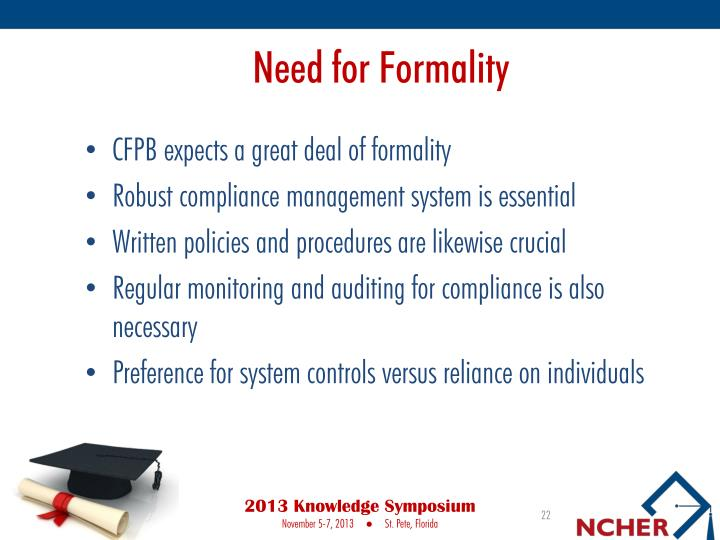 Need for Formality