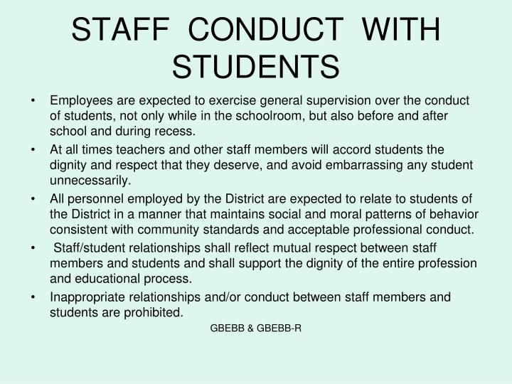 STAFF  CONDUCT  WITH  STUDENTS