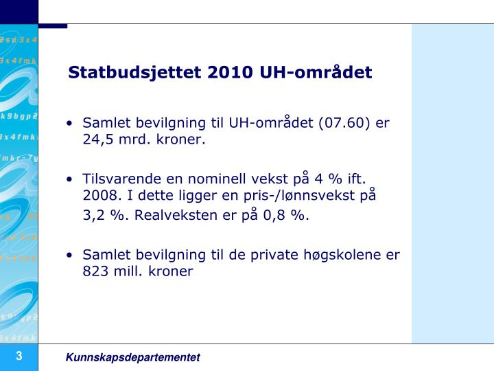 Statbudsjettet 2010 UH-området