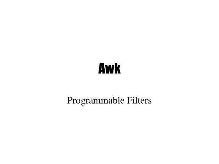 Programmable filters