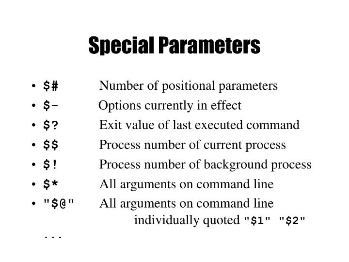 Special Parameters