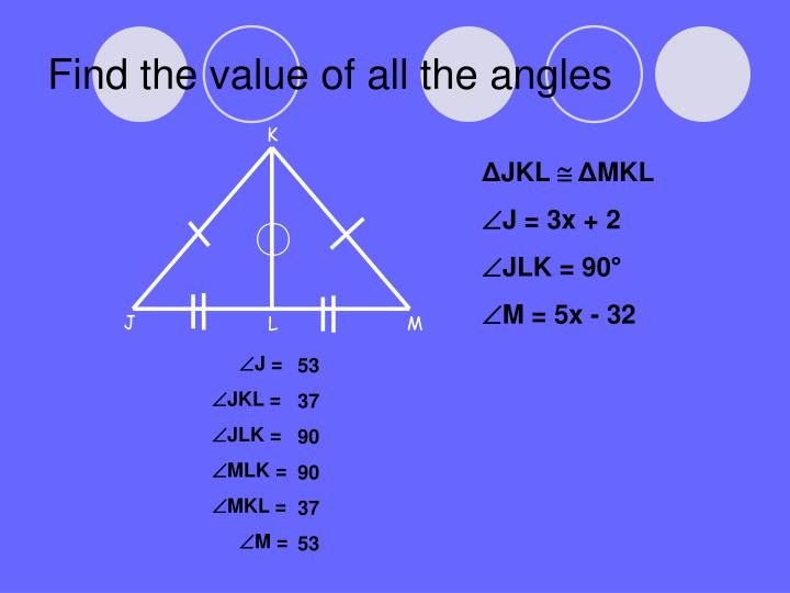 Find the value of all the angles