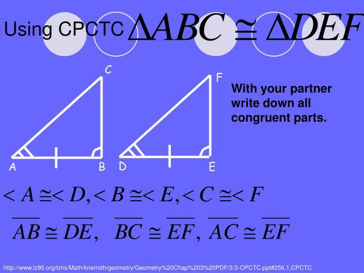 Using CPCTC