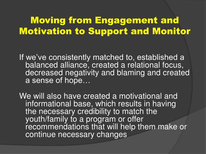 Moving from Engagement and Motivation to Support and Monitor