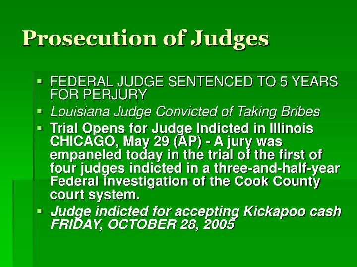 Prosecution of Judges