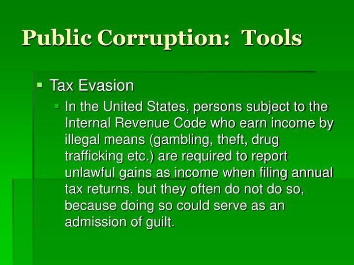 Public Corruption:  Tools