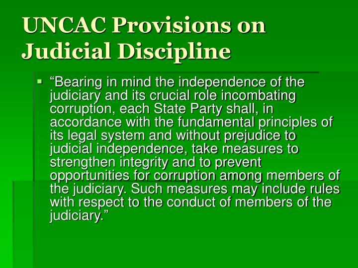 UNCAC Provisions on Judicial Discipline