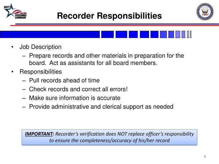 Recorder Responsibilities