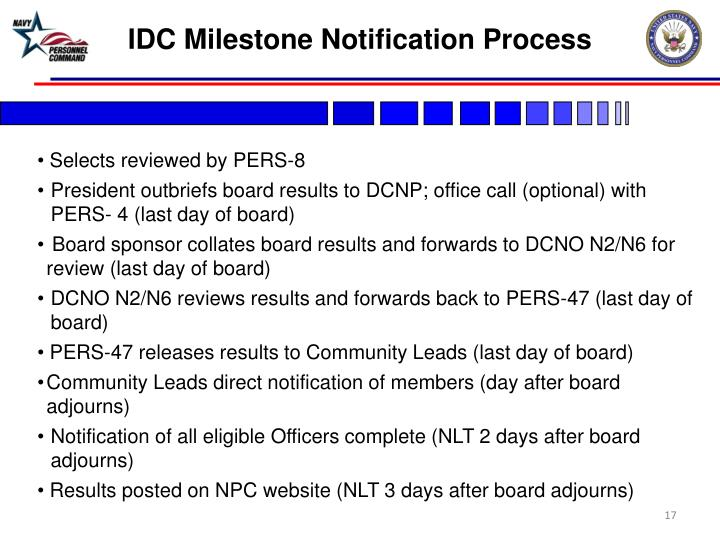 IDC Milestone Notification Process