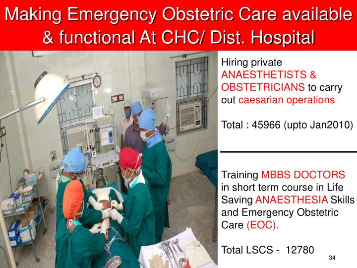 Making Emergency Obstetric Care available & functional At CHC/ Dist. Hospital