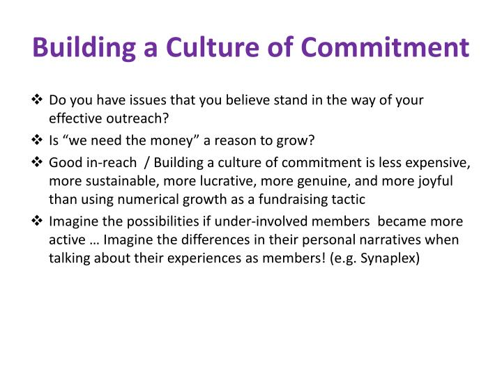 Building a Culture of Commitment