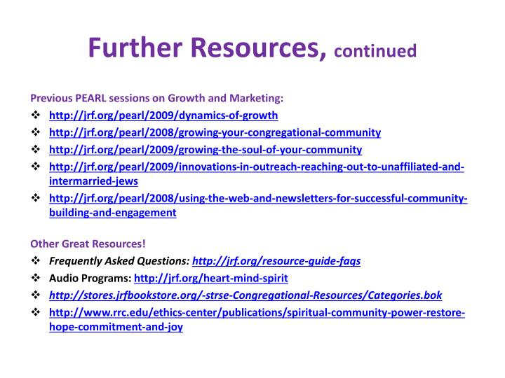 Further Resources,