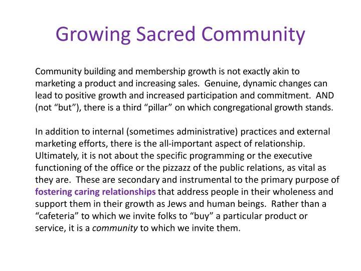 Growing Sacred Community