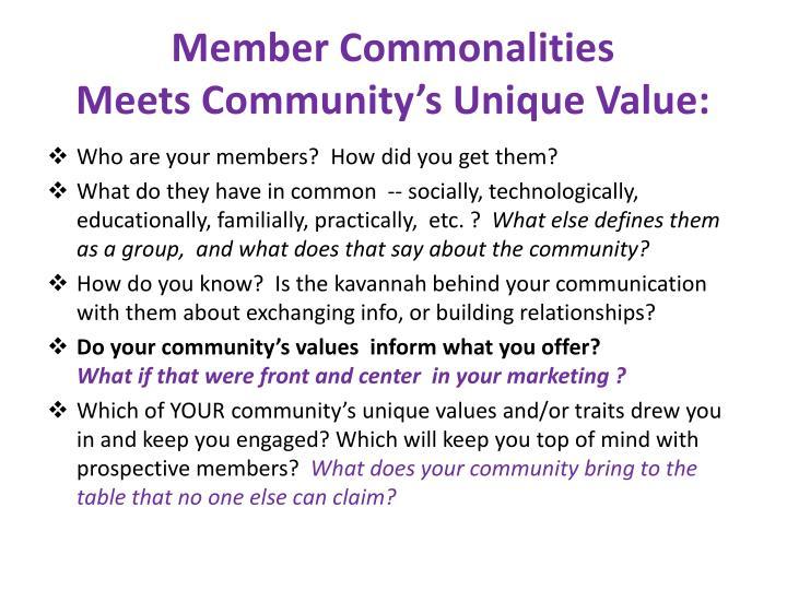 Member Commonalities