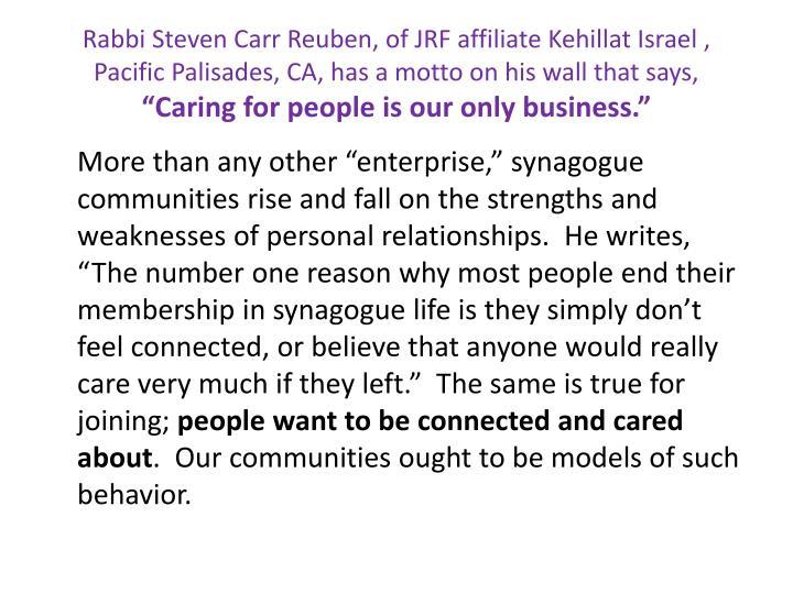 Rabbi Steven Carr Reuben, of JRF affiliate