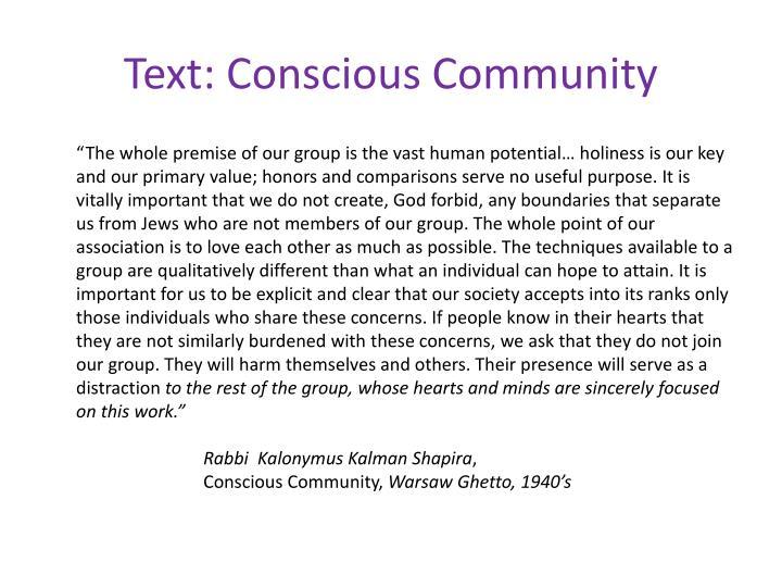 Text: Conscious Community