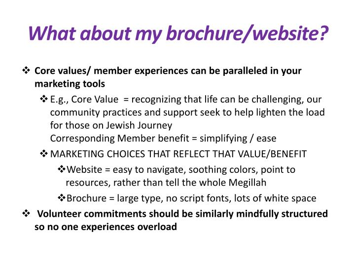 What about my brochure/website?