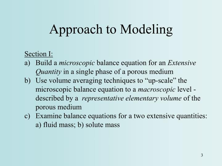 Approach to Modeling