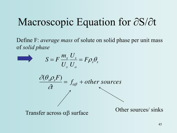 Macroscopic Equation for ∂S/∂t