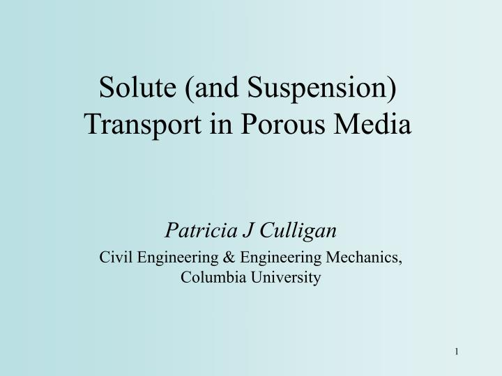 solute and suspension transport in porous media