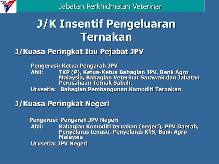 J/K Insentif Pengeluaran Ternakan